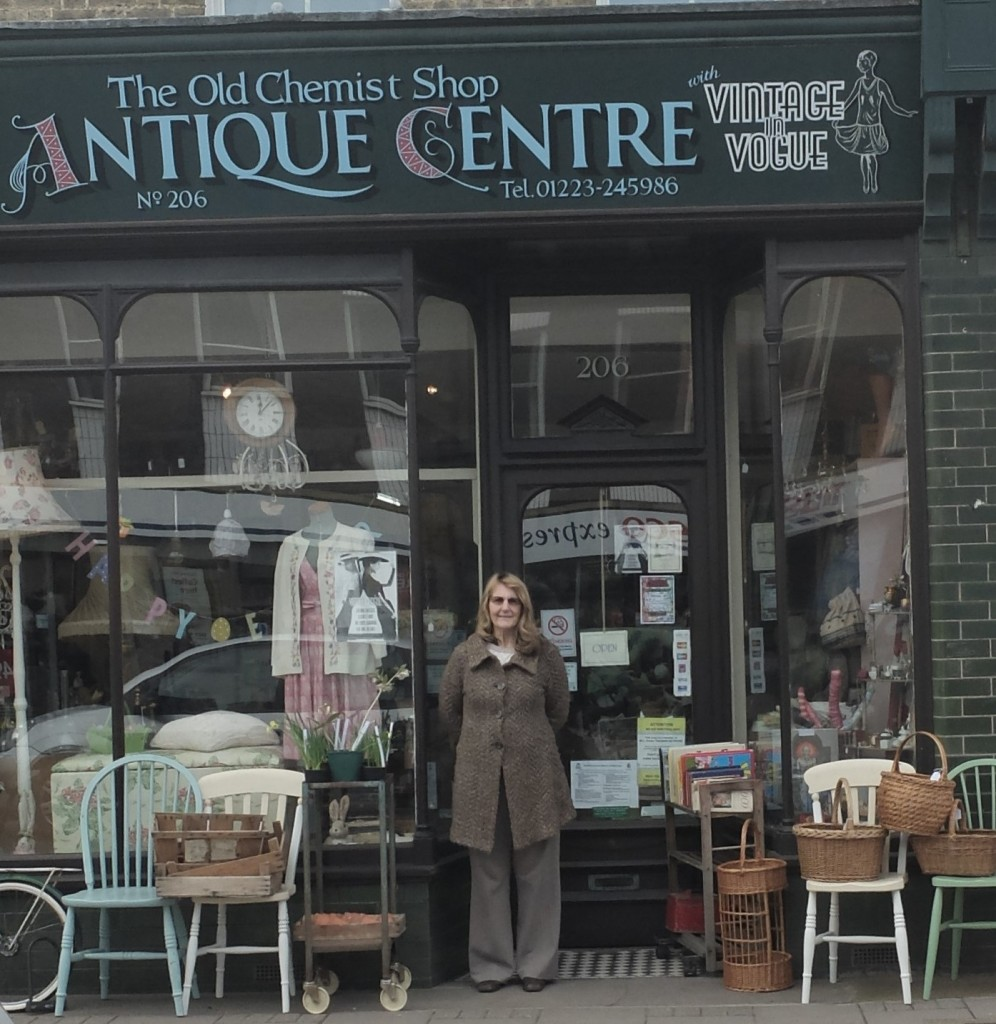 Tansy Tucker outside her antique shop, 2015.