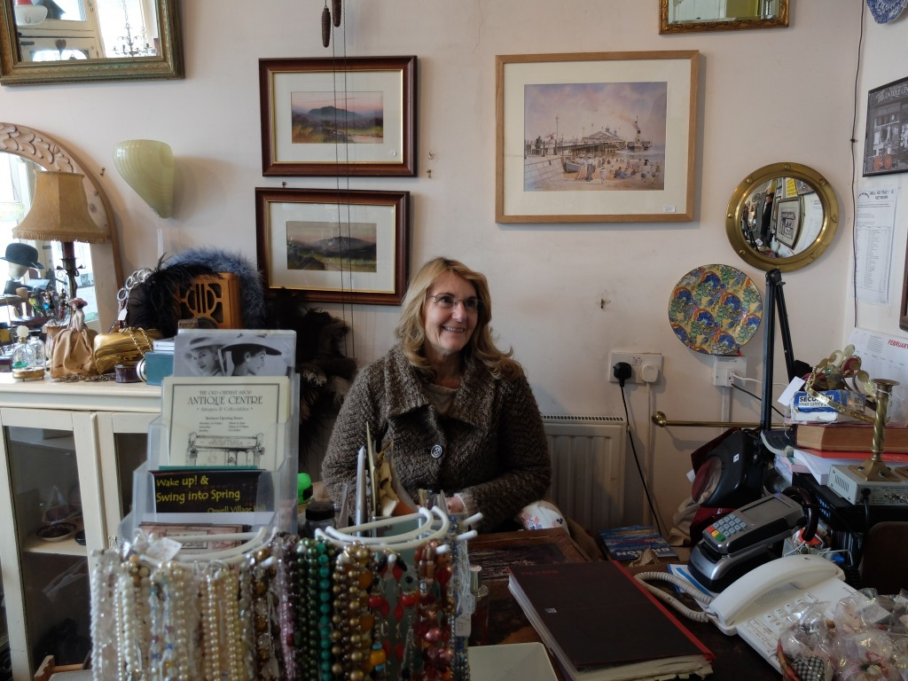 Tansy Tucker in her antique shop, 2015.